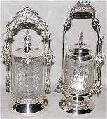 121320 VICTORIAN SILVERPLATE  GLASS PICKLE CASTERS