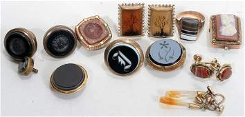 VICTORIAN AGATE JEWELRY, INCLUDING A RING