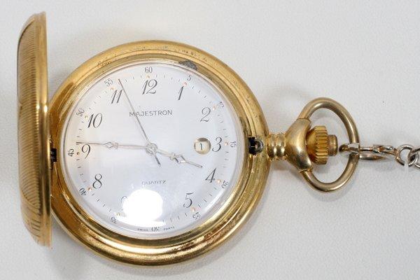 121633: MAJESTRON QUARTZ GOLD FILLED POCKET WATCH