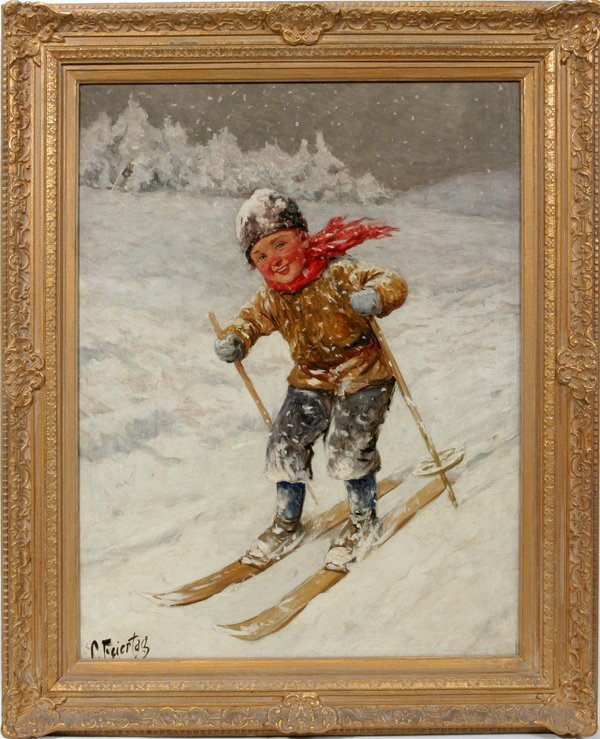 122001: C. FEIERTAG OIL ON CANVAS LITTLE BOY SKIING