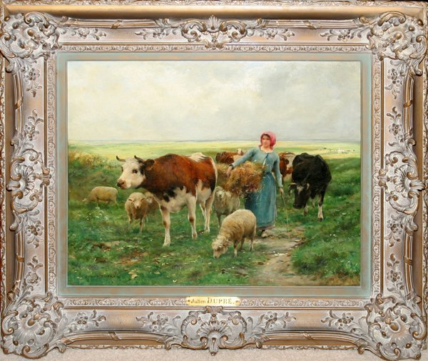 122004: JULIEN DUPRE OIL PEASANTS WITH COWS & SHEEP