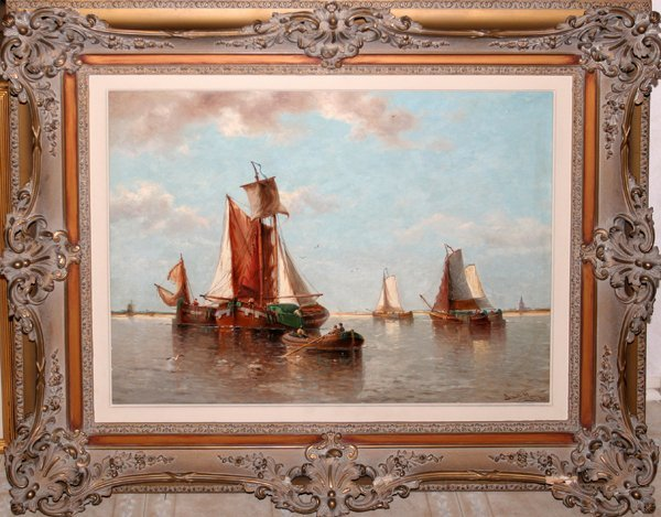 122005: AUGUSTE HENRI MUSIN OIL SAILBOATS IN HARBOR