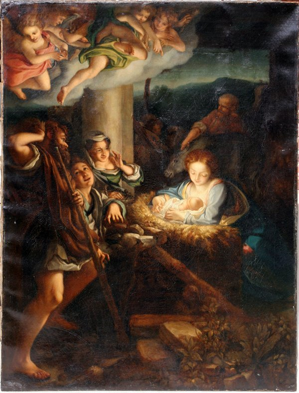 122008: FRENCH OR ITALIAN SCHOOL, OIL NATIVITY SCENE
