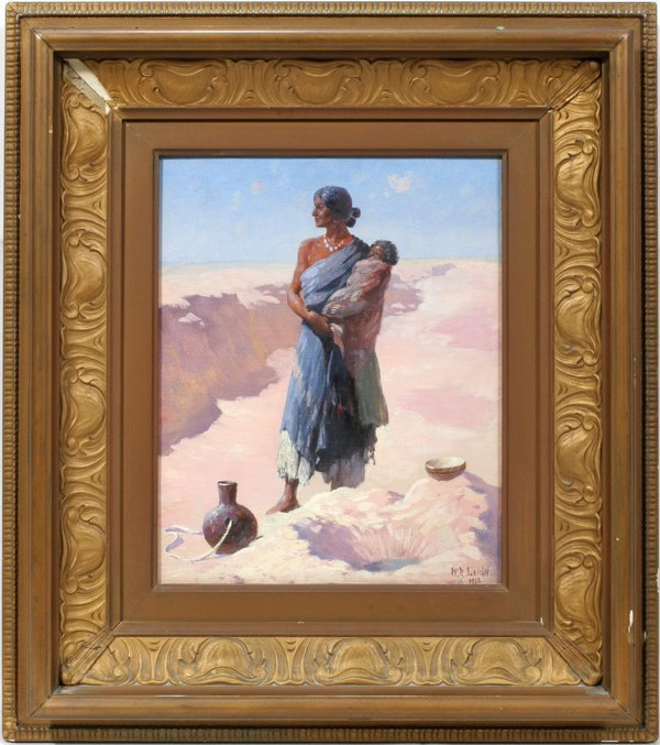 122010: WILLIAM R. LEIGH US OIL INDIAN GIRL W/PAPOOSE