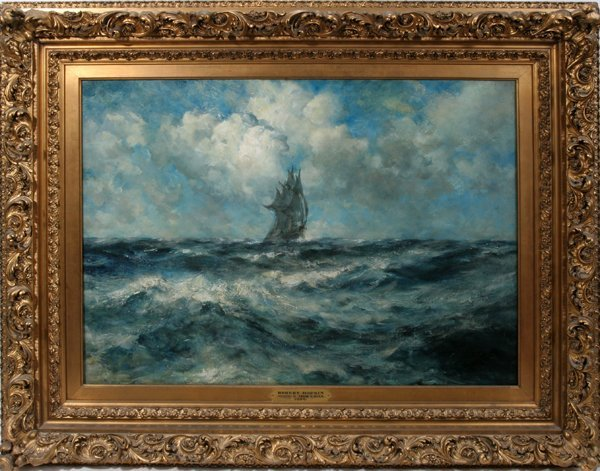 "122011: ROBERT HOPKIN OIL ON CANVAS ""STORMY SEAS"""