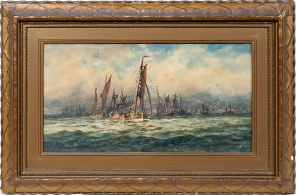 122012: ROBERT HOPKIN WATERCOLOR, SAILBOATS AT SEA