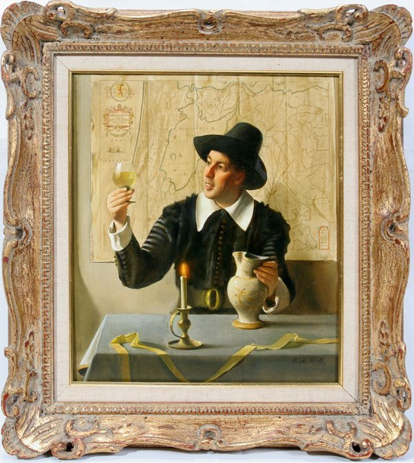 122014: FRANZ XAVIER WOLF OIL ON PANEL 'WINE TASTER'