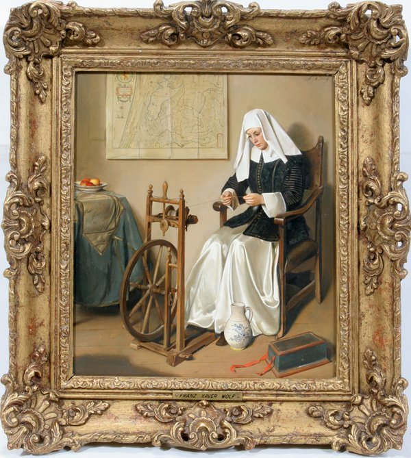 122015: FRANZ XAVIER WOLF OIL LADY AT SPINNING WHEEL