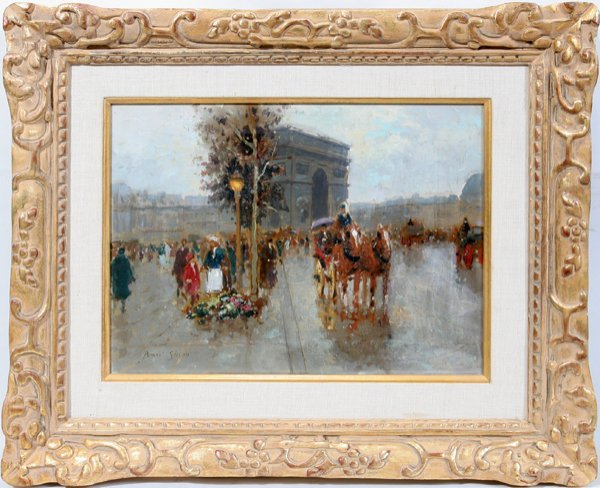 122019: ANDRE GISSON OIL-CANVAS 'PARIS STREET SCENE'