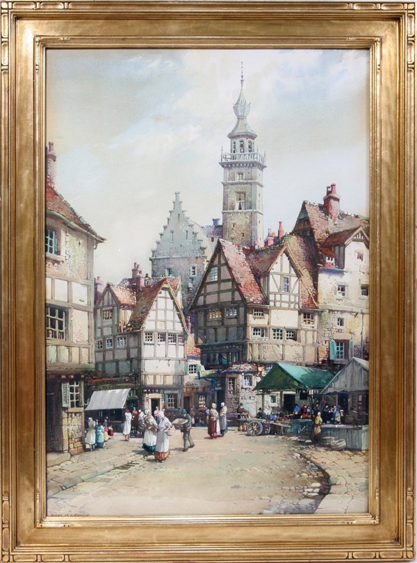 122022: NOEL LEAVER WATERCOLOR TOWN SCENE, VEERE