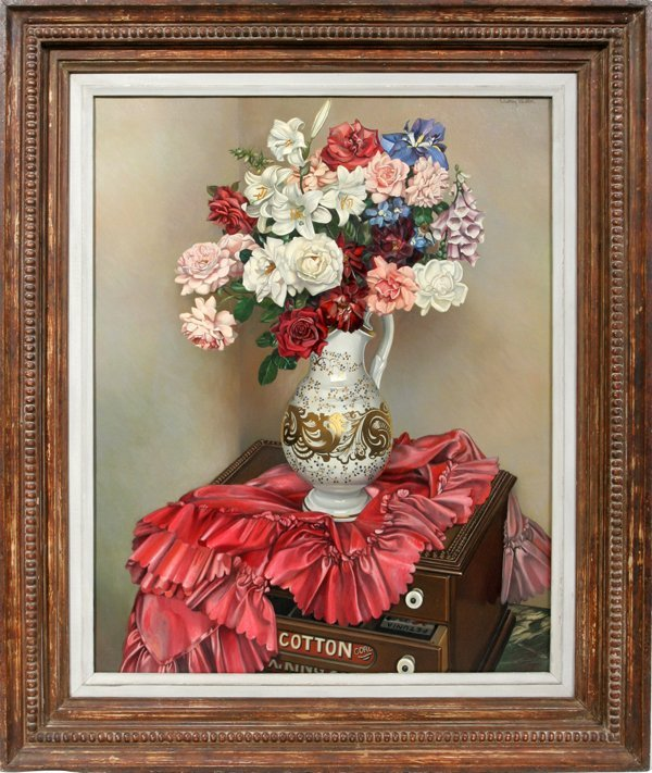 122276: AUDREY BULLER OIL BOUQUET IN A PITCHER VASE