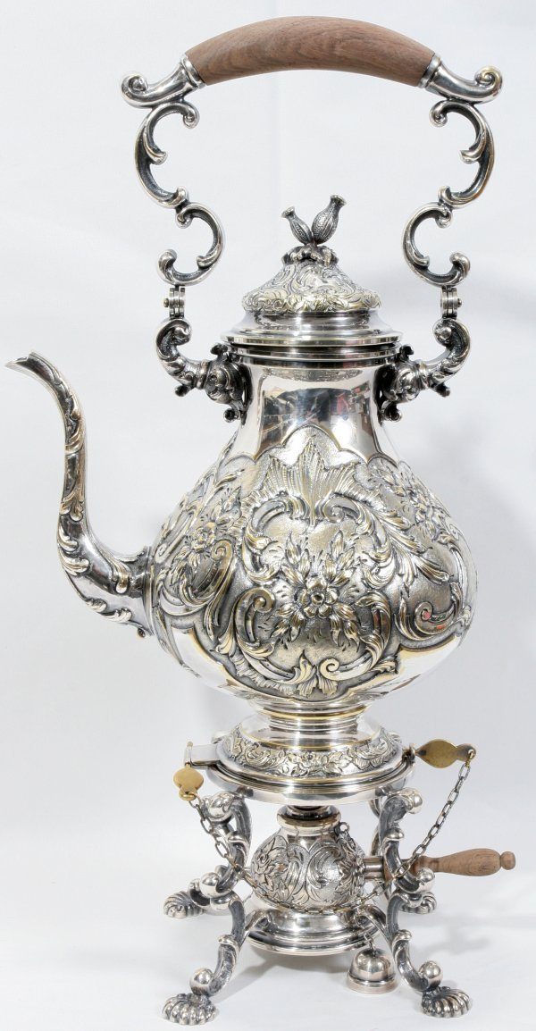 010002: PORTUGUESE SILVER HOT WATER KETTLE & STAND