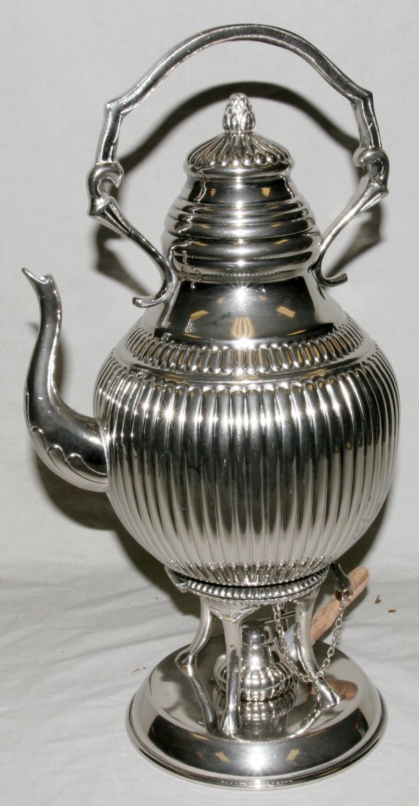 010003: PRESPON SILVER PLATE HOT WATER KETTLE & STAND