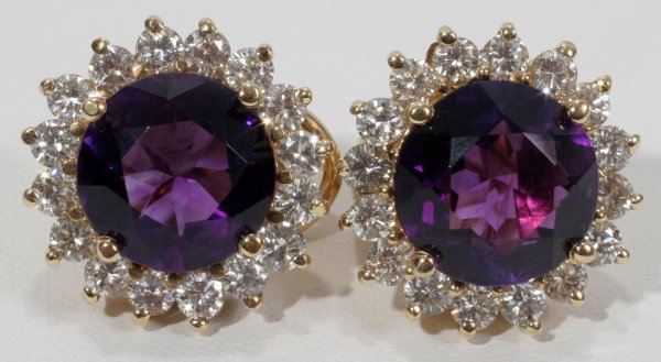 010013: 9 CT OLD MINED AMETHYST AND DIAMOND EARRINGS