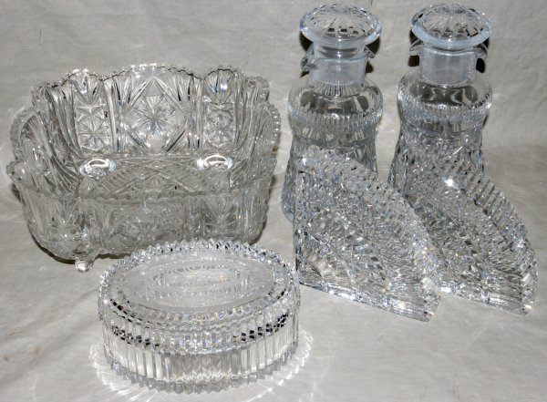 010536: WATERFORD CRYSTAL BOOKENDS, CRYSTAL DECANTERS