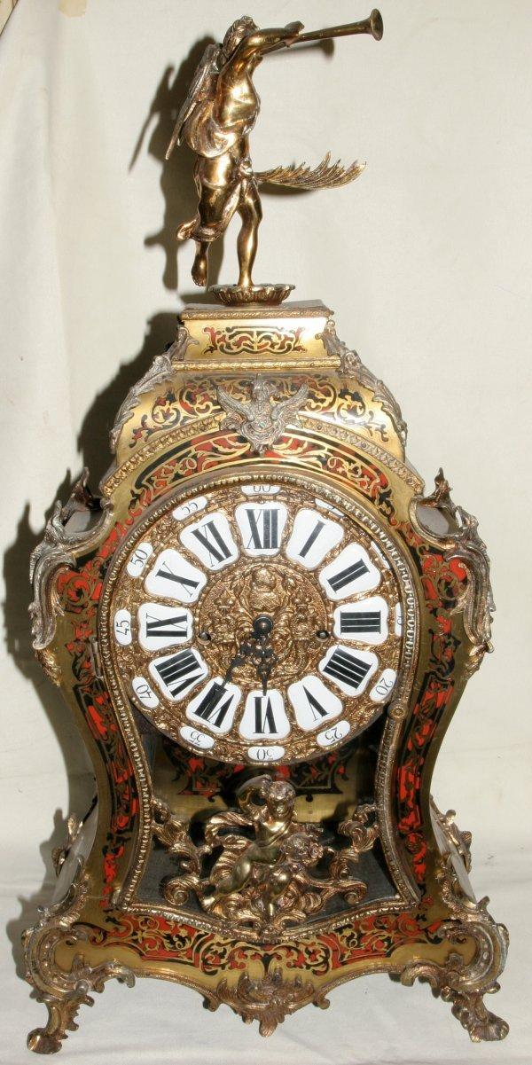 """011005: FRENCH BOULLE MANTEL CLOCK, C. 1900, H 29"""""""