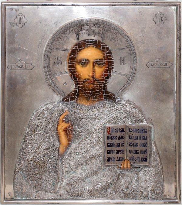 011007: RUSSIAN ICON SILVER OKLAD, CHRIST PANTOCRATOR