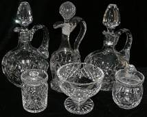 011264: CRYSTAL DECANTERS (3), COVERED JARS (2),