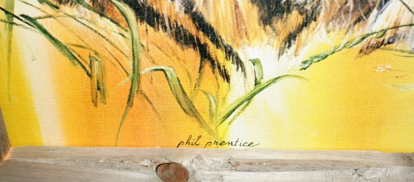 011337: PHIL PRENTICE OIL ON CANVAS, SEATED TIGER - 2