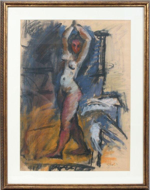 012001: HANS GUSTAV BURKHARDT PASTEL FEMALE NUDE