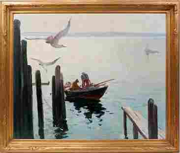 012003: ANTHONY THIEME OIL ON CANVAS 'MORNING GLOW'
