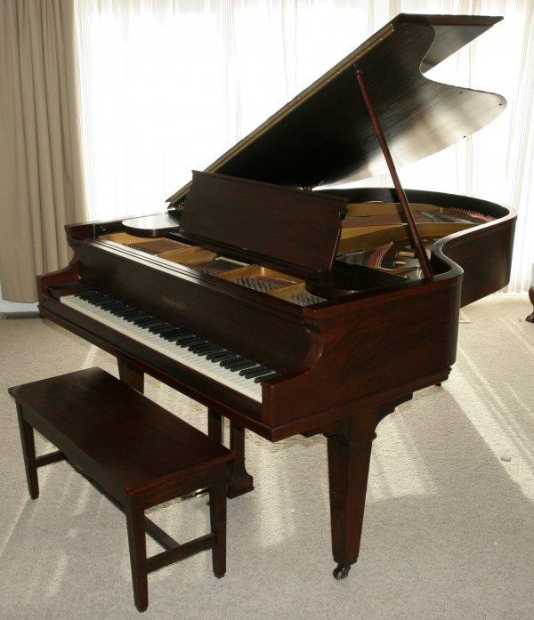 012018: CHICKERING MAHOGANY GRAND PIANO W/BENCH
