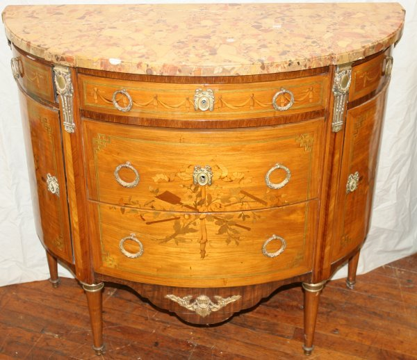 """012019: MARBLE TOP WALNUT COMMODE, C. 1865, H 36"""""""