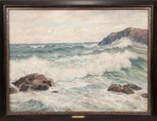 CHARLES VICKERY OIL ON CANVAS, WAVE CRASHING
