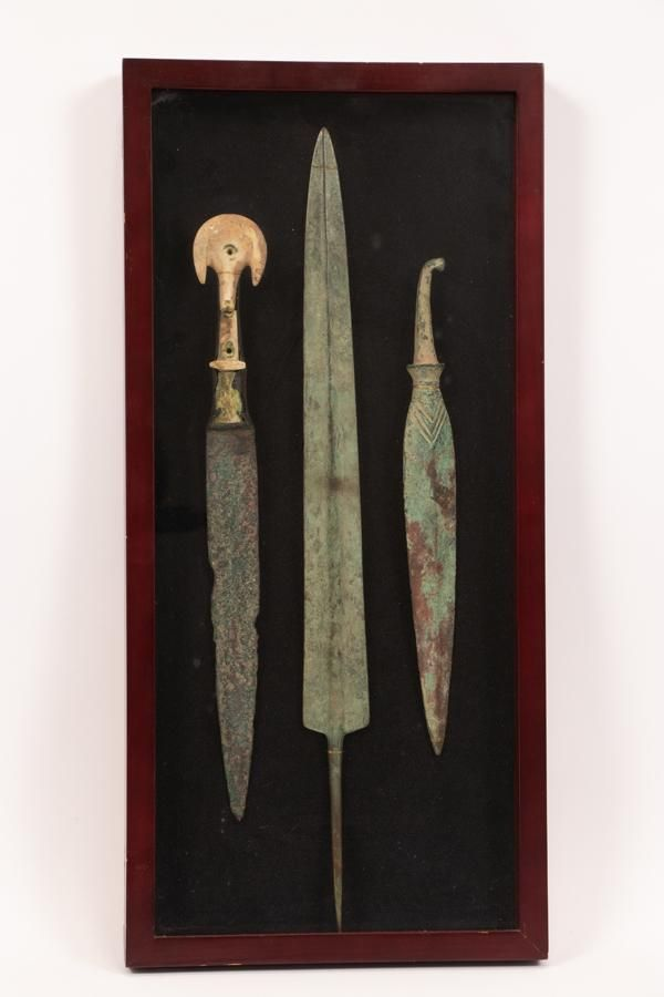 BRONZE SPEAR HEADS AND DAGGER, THEE PIECES