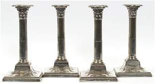 ENGLISH SHEFFIELD PLATE CANDLESTICKS SET OF FOUR