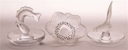 LALIQUE CRYSTAL RING DISHES & 'ANEMONE' FIGURINE