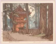 HIROSHI YOSHIDA WOODBLOCK PRINT TAKINOO SHRINE