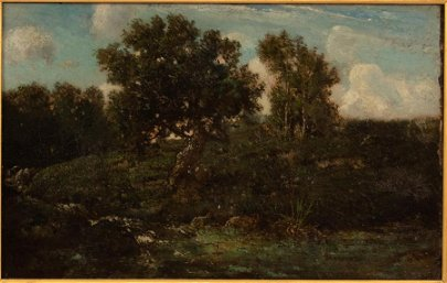 THEODORE ROUSSEAU OIL ON CANVAS, SUMMER LANDSCAPE