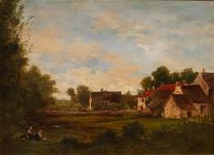 CHARLES FRANCOIS DAUBIGNY OIL ON PANEL, 1872