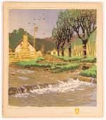 GUSTAVE BAUMANN WOODCUT ON LAID PAPER, 1915-16