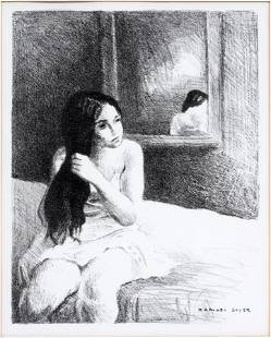 RAPHAEL SOYER LITHOGRAPH, SEATED GIRL