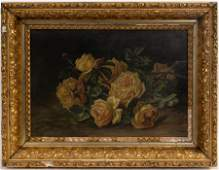 OIL ON CANVAS C 1900 YELLOW ROSES