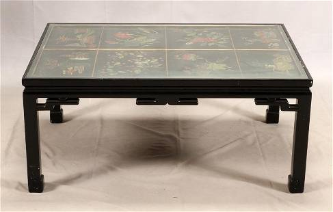 CHINESE CARVED LACQUER COCKTAIL TABLE