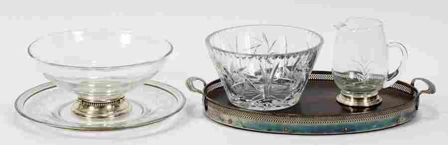 STERLING RIM GLASS BOWL TRAY PITCHER 5 PCS