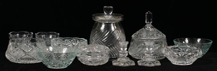 CRYSTAL CANDLESTICKS DISHES CANNISTERS 12 PCS