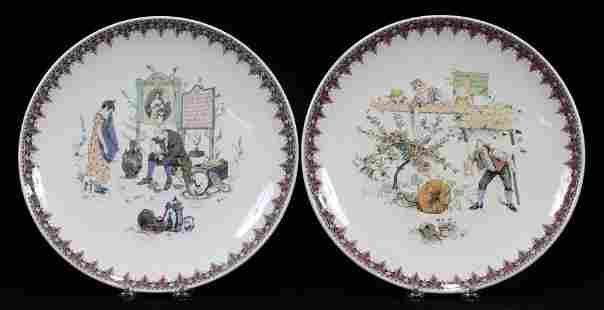 SARREGUEMINES FRENCH POTTERY CHARGERS 2 PCS