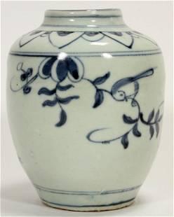 CHINESE MING INFLUENCE PORCELAIN JAR H 5 DIA 4