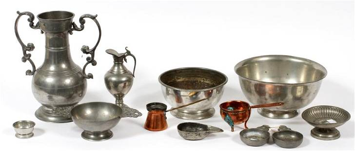 PEWTER GROUPING MID 20TH C FOUR PCS