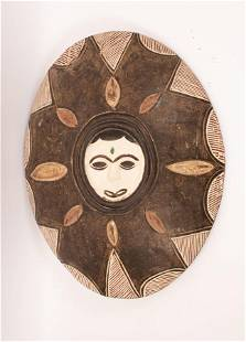 AFRICAN CARVED WOOD SHIELD H 25 W 20