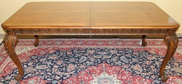 020001: HENREDON MAHOGANY & BURLWOOD DINING ROOM SET