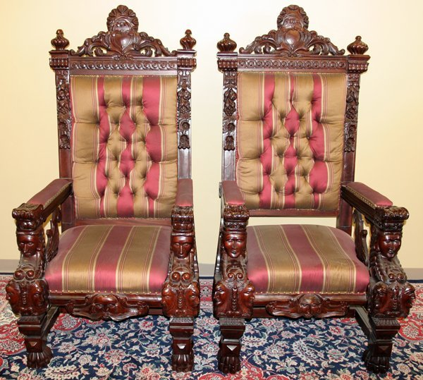 020002: NEOCLASSICAL STYLE CARVED MAHOGANY ARMCHAIRS