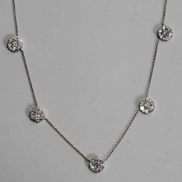 020011: 5.25 CT. CLUSTER BY THE YARD DIAMOND NECKLACE
