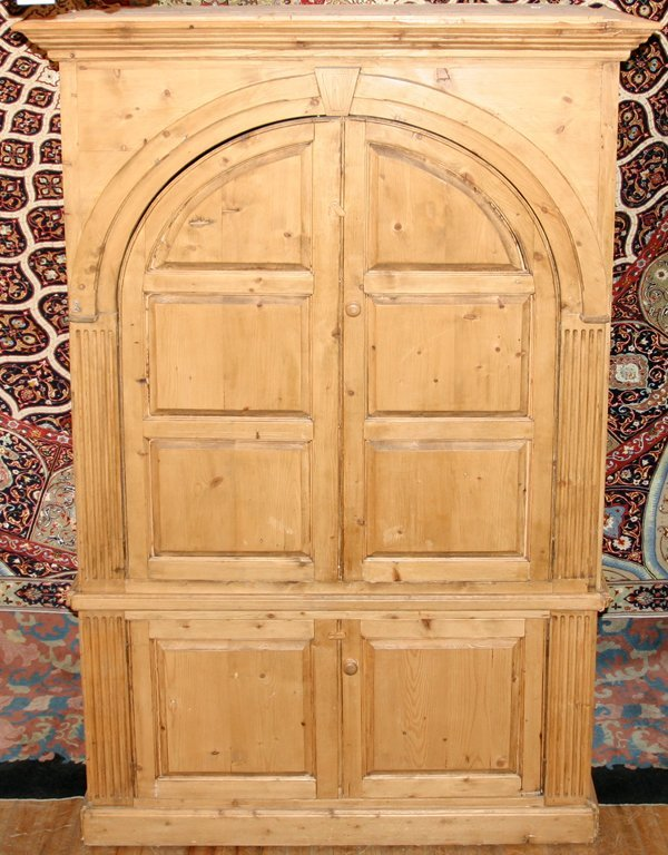 """020016: ENGLISH COUNTRY PINE ARMOIRE, C 1900, H 87"""""""