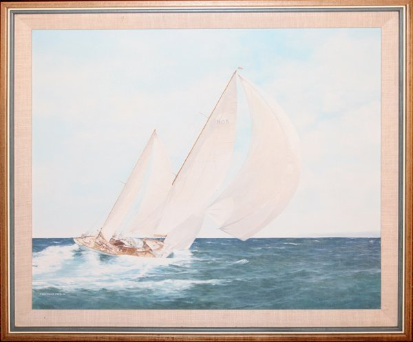 020020: FREDERICK FORD, OIL ON CANVAS SHIP UNDER SAIL