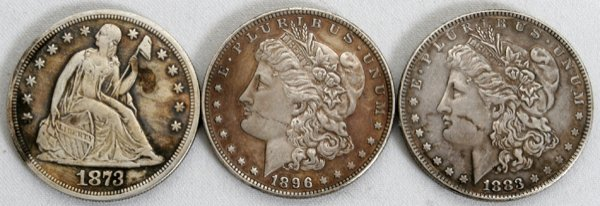 020382: THREE 1$ SILVER COINS, ONE SEATED LIBERTY